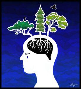 Saga Luoman kuva, jossa ihmisen aivoista kasvaa puita.