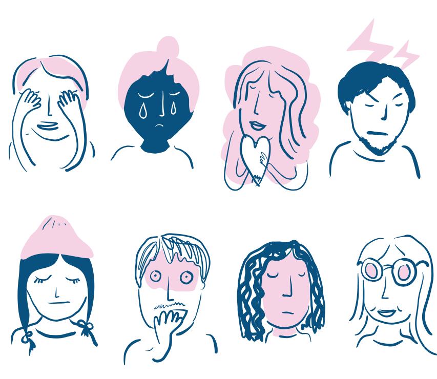 Kahdeksan piirroshahmoa eri tunnetiloissa